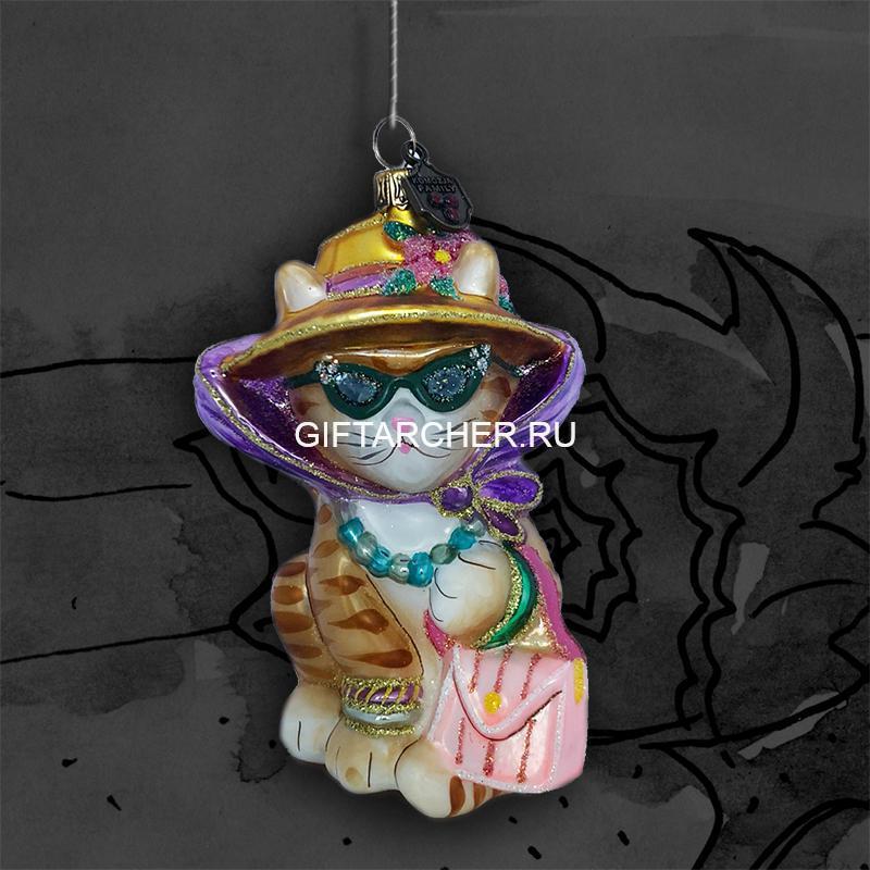 Кошка в шляпе рыжая — KOMOZJA FAMILY — Ёлочные игрушки